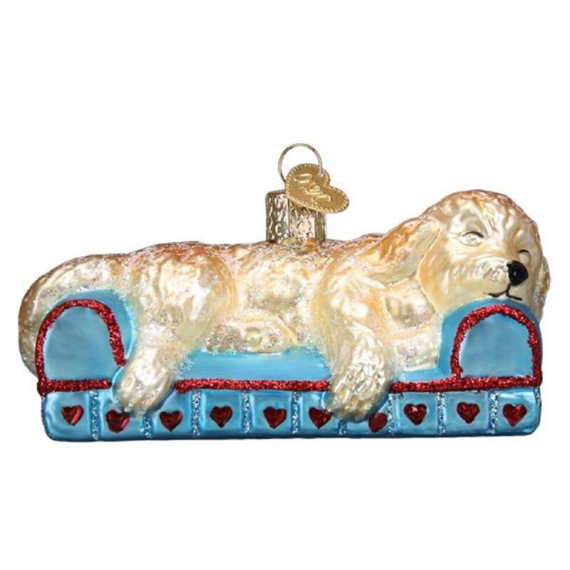 Old World Christmas Sleepy Doodle Dog Glass Ornament FREE BOX 12596