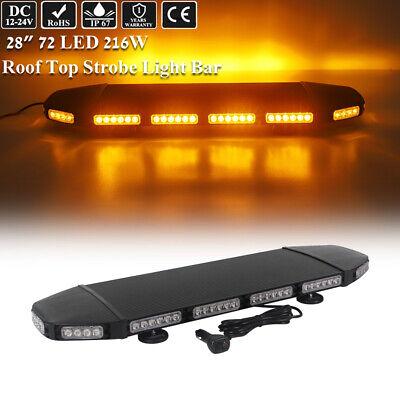 28 Led Amber Warning Emergency Beacon Flashing Roof Truck Strobe Light Bar 216w