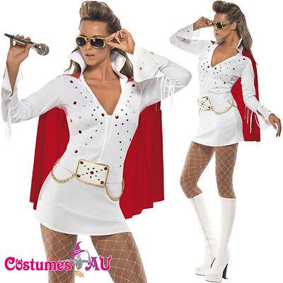 Vegas Fancy Dress Costumes (Ladies White Elvis Presley Viva Las Vegas Costume 50s 1950s Rock Fancy)