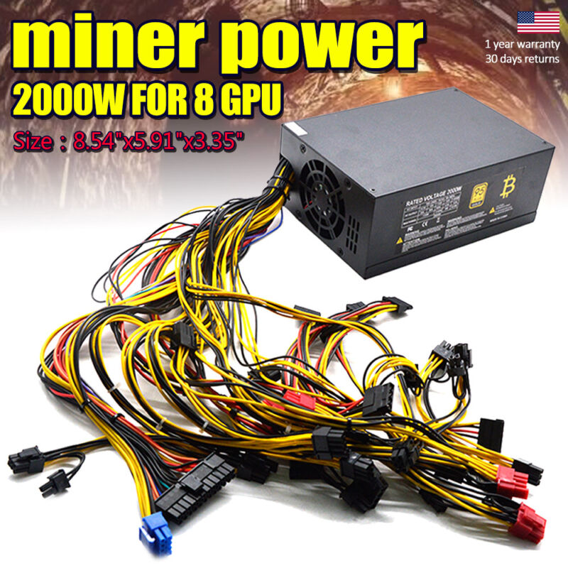 2000W 110V Power Supply For 8 GPU Rig Ethereum Coin Mining Miner Machine NBTS - $69.97