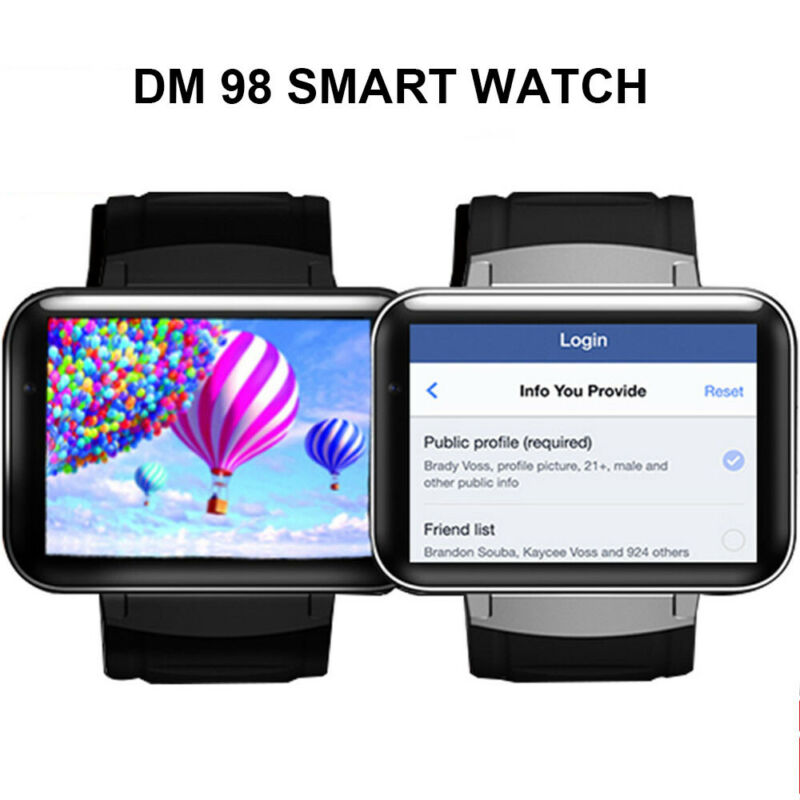 """DM98 2.2"""" 3G Bluetooth Wifi Smart Watch Android 5.1 4GB Came"""