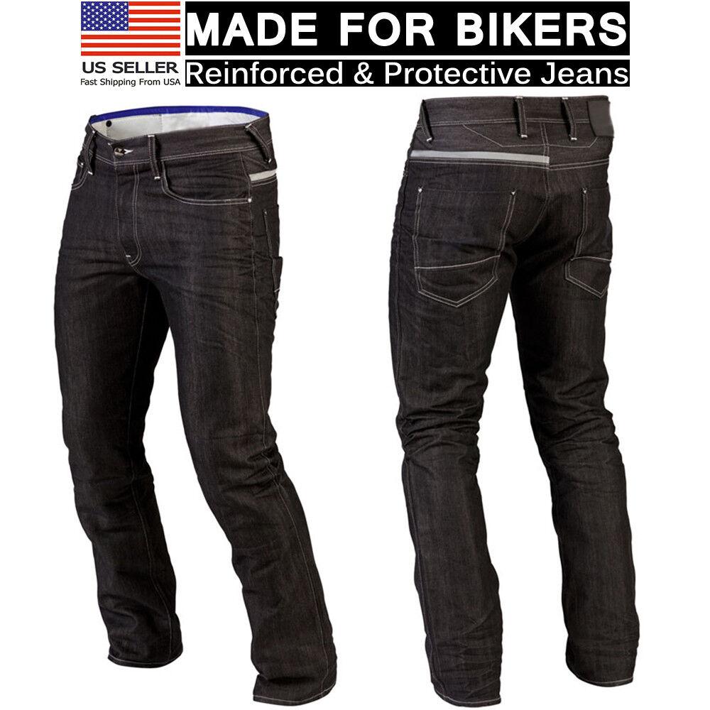Mens Motorcycle Denim Jeans Black Biker Protective Lining Trouser Stylish Pants