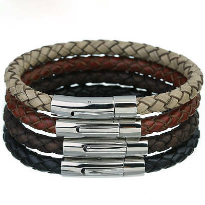 Mens Leather Bracelet Stainless Steel Magnetic Clasp  Valentines Day Gift Cs 3