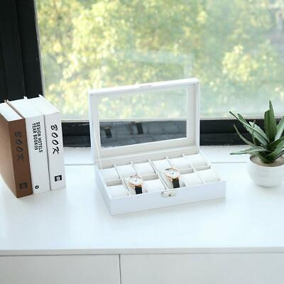 12 Slot Watch Box Display Case Organizer Cushion Storage Box WristWatch Bracelet