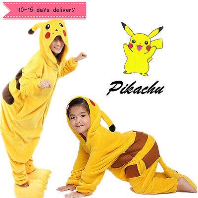 Karneval Unisex Erwachsene&Kinder Pikachu Onesie10 Kostüm Tier Pyjam Nachtwäsche ()