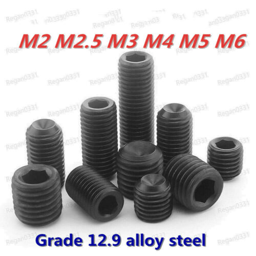 M6x6mm Hex Socket Set Cap Point Grub Screws Black 100pcs