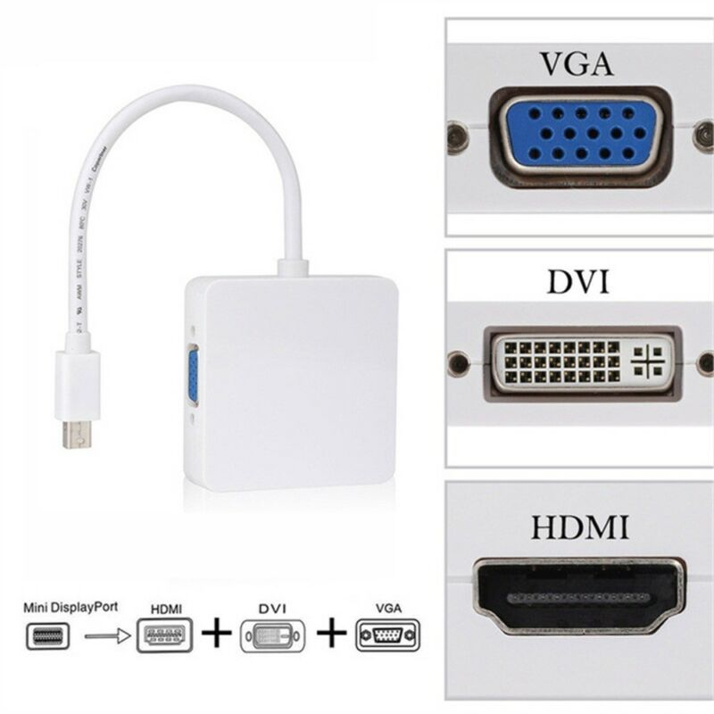 Rectangle DP to HDMI VGA DVI Adapter Displayport to HDMI Two 4K Adapter 3 in 1 Display Port to HDMI VGA DVI Converter Male to Female Gold-Plated Black