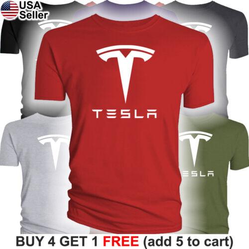 Tesla T-Shirt Motors Logo Emblem Elon Musk Car Men Racing