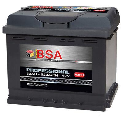 BSA Autobatterie 52Ah 12V extrem Leistungsstark 520A/EN ersetzt 44Ah 45Ah 50Ah
