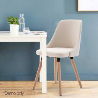 Set of 2 Fabric Dining Chair Beige or Grey