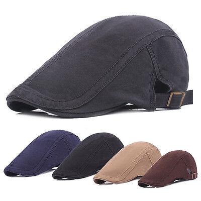 Herren klassisch einfarbig Fahren Newsboy Hut lässig Cabbie Sun Barett Kappe