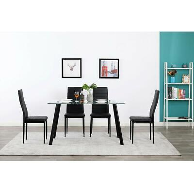 Durable 5 Piece Dining Table Set 4 Chair Glass Metal Kitchen Room Breakfast NEW