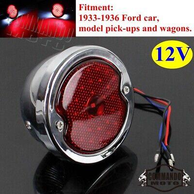 For Ford Tail Light Lamp Chrome Hot Rat Rod VTG Style License Plate Light LED