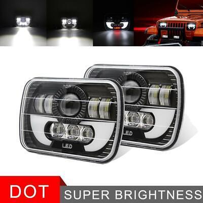 For GMC Savana 1500 2500 3500 Truck 7x6 LED Headlight HI/LO Beam Halo Pair Black
