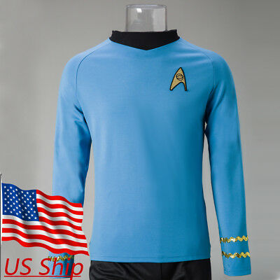 Star Trek TOS Captain Kirk Shirt Uniform Cosplay Costume Blue Men's Shirt New Captain Kirk Uniform