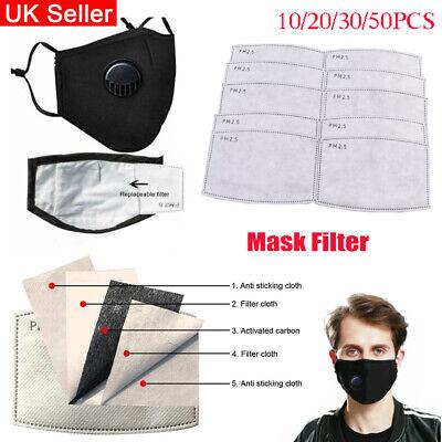 20/50Pcs Washable PM2.5 Mask Filter Paper Masks Pads Anti Fog Dust Haze Filter