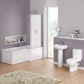 Full Bathroom Complete Square Showerbath Suite. Modern Taps. Toilet & Basin.