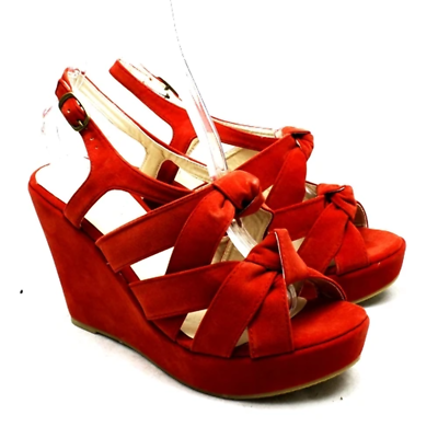 как выглядит Coral Suedette wedge heel knot front sandals / shoes фото