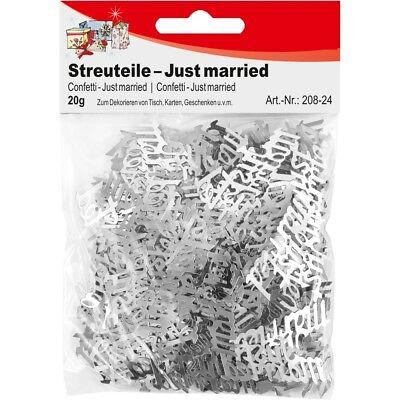 """250 Streuteile  """"Just married""""  Hochzeit silber Streudeko Tischdekoratiion 20 G"""