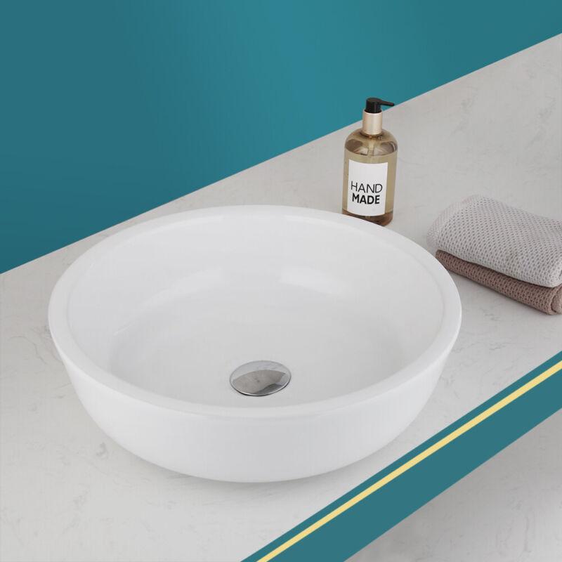 US Round Vessel Bathroom Ceramic Basin Vessel Sink Above Counter Lavatory White