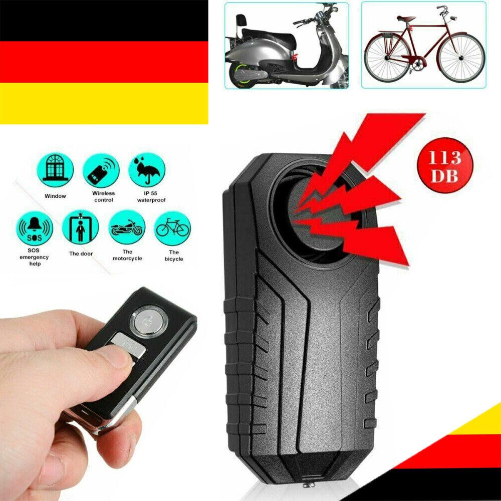 Motorrad Fahrrad Alarmanlage 113dB Drahtlos Anti Theft Erschütterungs Fernbedien
