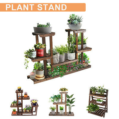 Multi Tier Plant Stand Flower Rack Shelf Outdoor Indoor Garden Corner Wood Stand Outdoor Shelf Stand