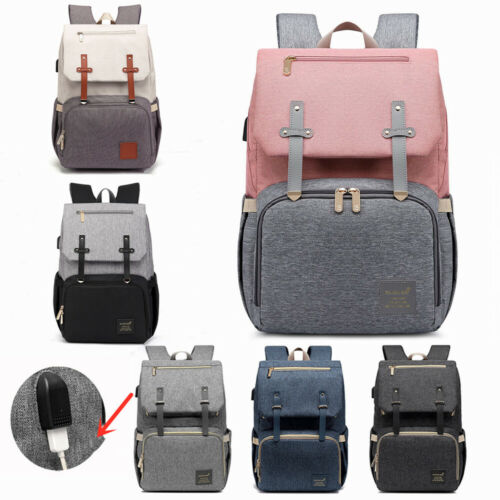 USB Waterproof Diaper Backpack Maternity Nappy Mom Large Mul