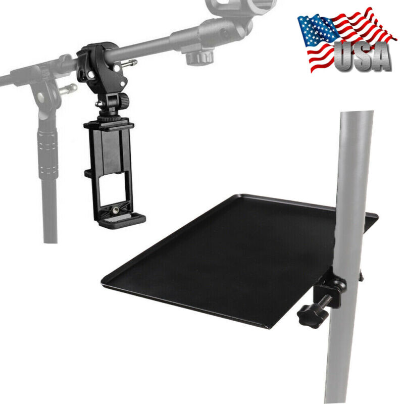 Adjustable Music Microphone Stand Mount Phone / Tablet Holder & Stand Tray