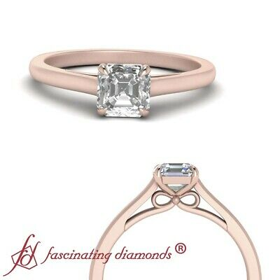 3/4 Carat Asscher Cut Diamond Solitaire Bow Design Engagement Ring In Rose Gold
