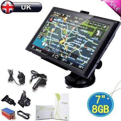 """8GB 7"""" Car GPS SAT NAV Navigation System FM Speedcam POI Free UK+EU map"""