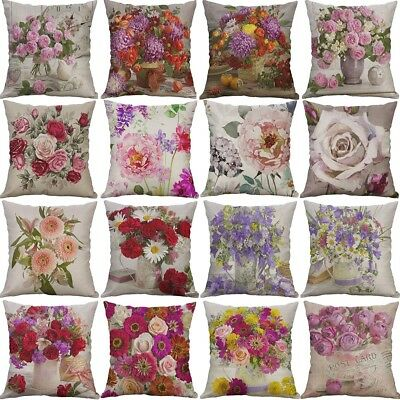 Vintage Flower Cotton Linen Cushion Cover Throw Pillow Case Sofa Home Decor