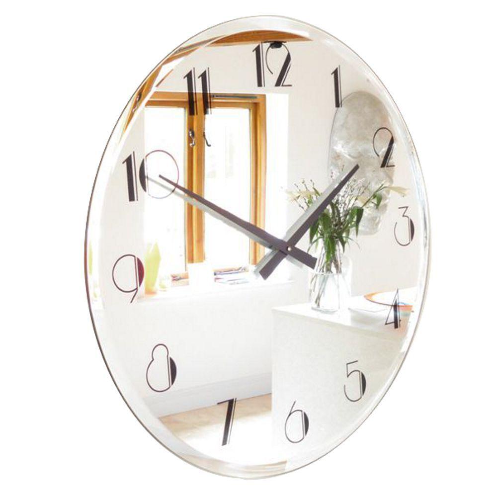 ROCO VERRE Art Déco Abgeschrägt Spiegel Twenties Uhr Geätzt oder Schwarz 65cm