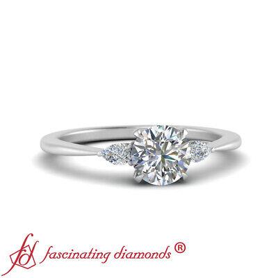 Platinum Round Cut Diamond Three Stone Tapered Engagement Ring For Women 0.70 Ct