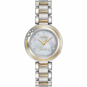 CITIZEN ECO-DRIVE L CARINA TWO TONE MOP DIAMONDS SS EM0464-59D