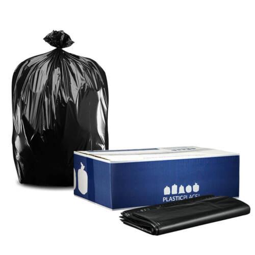 "Plasticplace 64-65 Gallon Black Trash Bags, 1.5 Mil, 50"" x 60"", 25 Count"