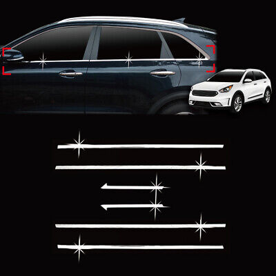 Chrome Window Accent Sill Garnish Trim 6p for 2017 2020 Kia Niro & EV