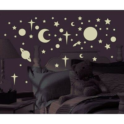 258 New Glow in the Dark STARS SUNS PLANETS WALL DECALS Kids Celestial Stickers - Star Stickers