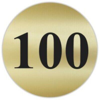 100pc Number 100 Gold Black 1.5 Round Matte Stickers Score Inventory Label