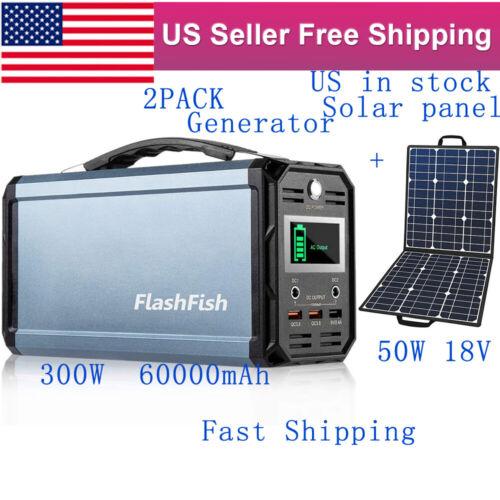 1PC 300W 60000mAh 222Wh Power Station Solar Generator + 1PC 50W 18V Solar Panel