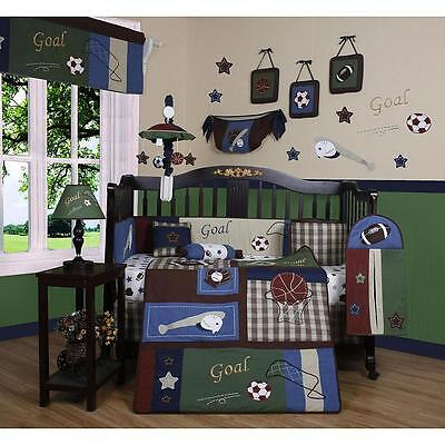 Boys Sports Crib Bedding Baseball Football 13 Pc Set Baby Toddler Infant Quilt Baby Boy Sports Bedding