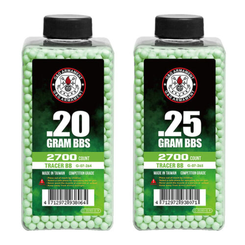 G&G Armament Competition Grade GREEN Glow-in-the-Dark Airsoft Tracer BBs 2700rd