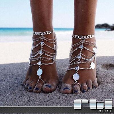2Pc Boho Vintage Coin Tassel Beach Anklet Bracelets Foot Chain Barefoot Sandal