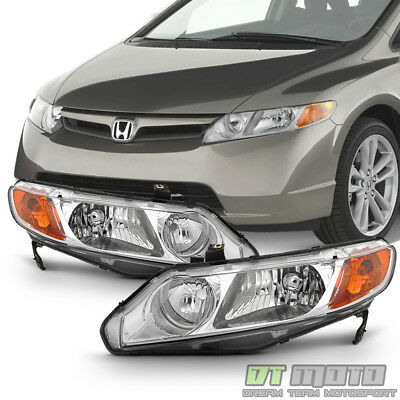 For Chrome 2006-2011 Honda Civic 4Dr Sedan Headlights Headlamps 06-11 Left+Right