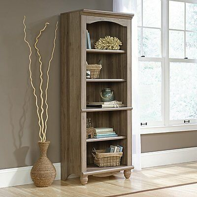 "مكتبة كتب جديد Sauder 72"" Tall Harbor View Library Bookcase In Salt Oak Finish 419912 NEW"