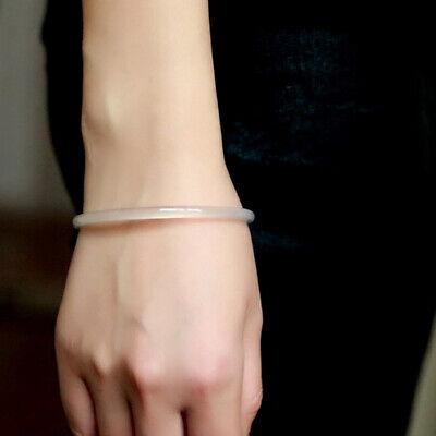 Chinese Natural White Icy Jade Jadeite Bangle Bracelet Thin&Small 54-55MM