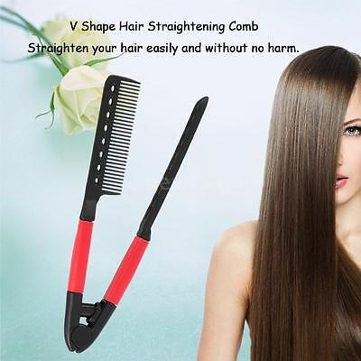 Useful Folding Hair Straightener Comb Hair Straightening Comb Salon Brush U6A0