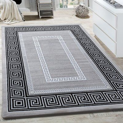 Modern Versace Style Rug Black Grey Glitter Carpet Geometric Pattern Mat Room
