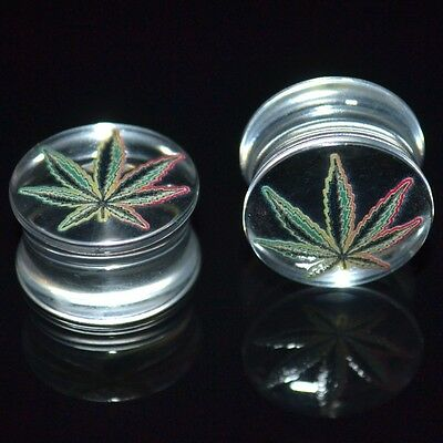 PAIR -  CLEAR ACRYLIC RASTA POT LEAF EAR PLUGS DOUBLE FLARED GAUGES -