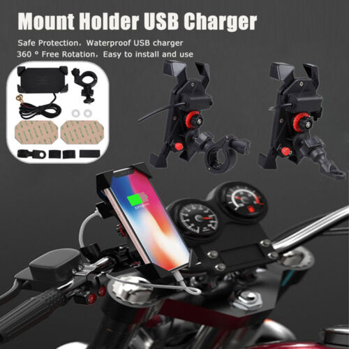 Motorcycle Bike ATV Cell Phone GPS Handlebar Mirror Mount Holder USB Charger US Cell Phone Accessories