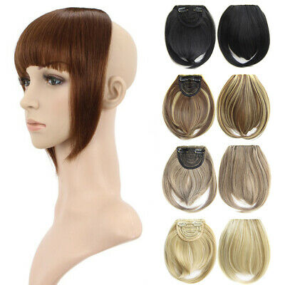 Clip In Straight Hair Bang Synthetic Neat Bangs Side Temples Fringe Hairpiece ()